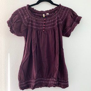 Anthropologie Little Yellow Button Purple Top S